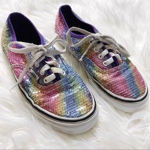 Girls' Vans Rainbow Sequins Casual Sneakers Shoes